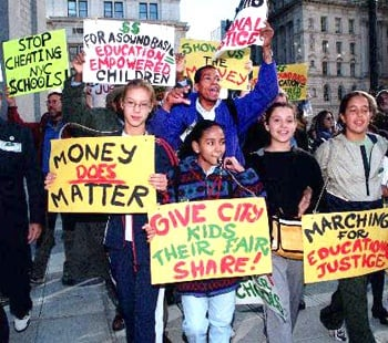 Protesting against school budget cuts