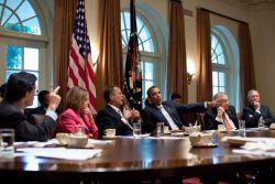 Congress majority leader Cantor, Congress minority leader Pelosi, Congress speaker Boehner, President Obama, Senate majority leader Reid and Senate minority leader McConnell. Photo: White House