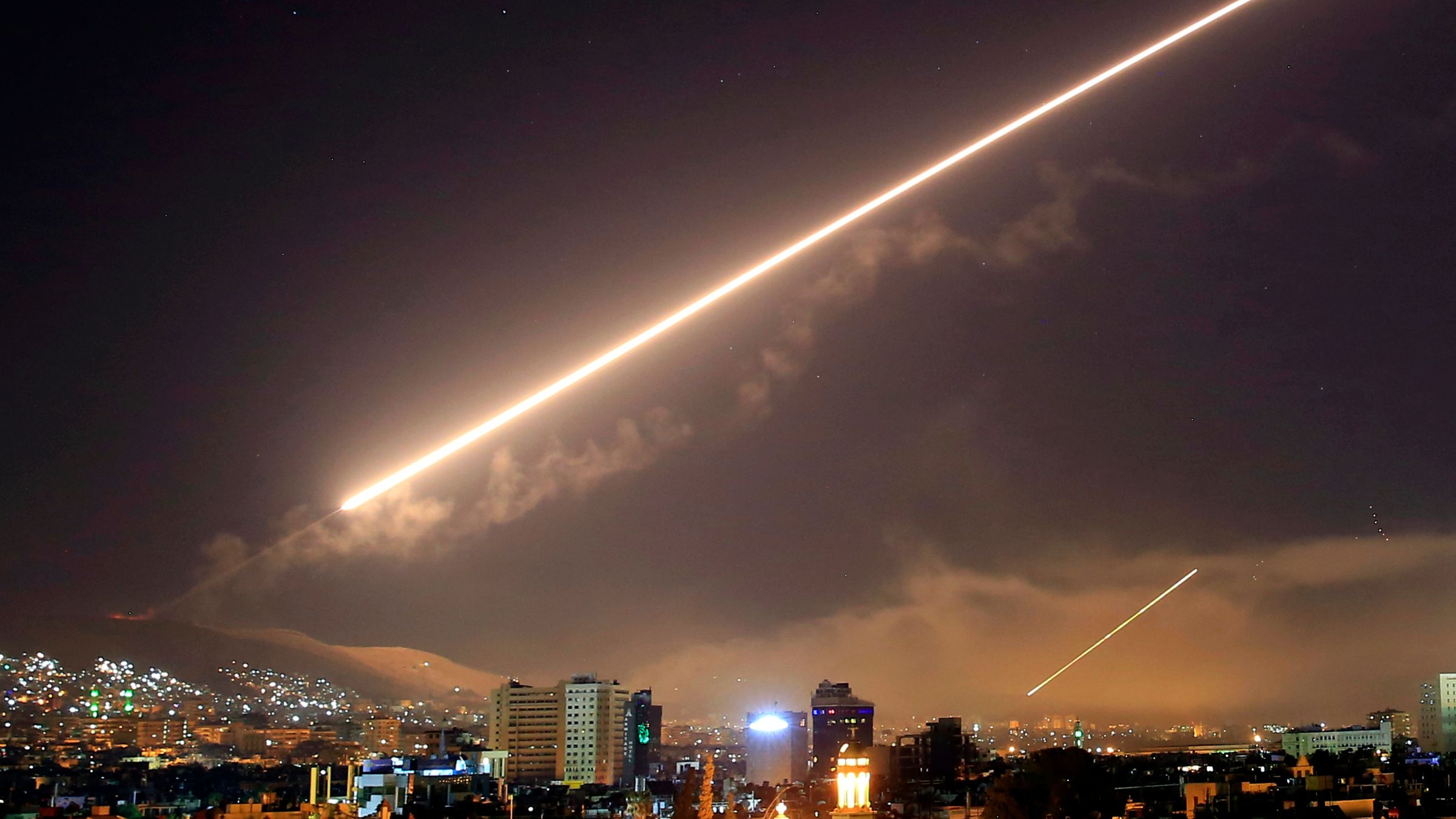 Syria missile airstrike chemical weapons Damascus Trump Assad Putin