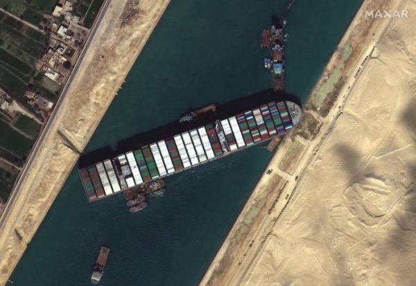 Ever Given ship blocking the Suez Canal Aerial View