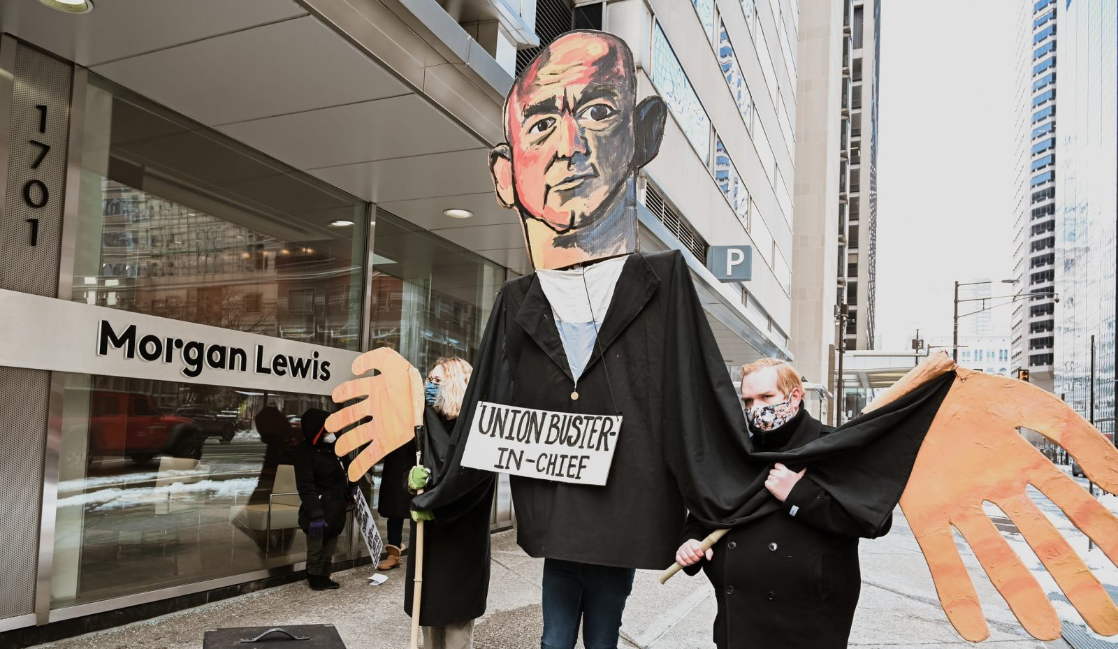 Philadelphia Protest at Amazon's union-busting law firm Morgan & Lewis in solidarity with Alabama Amazon Workers on this national day of action!